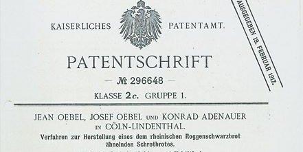 Bild vom Patent des Adenauer-Brotes