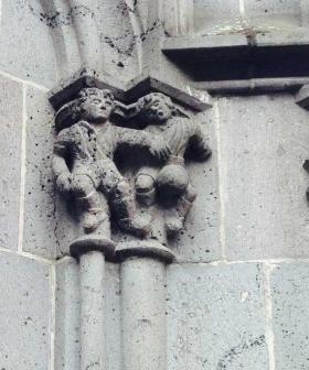 Bild der Fussballer am Kölner Dom