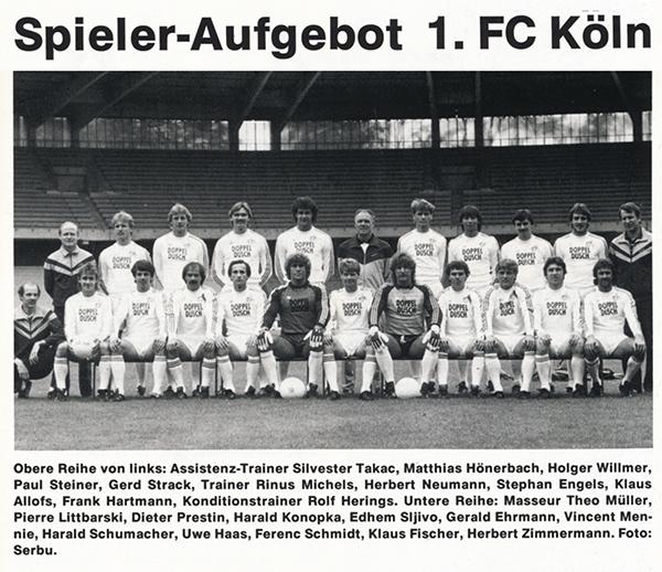 Bild der Aufstellung des 1. FC Köln beim Pokalfinale 1983