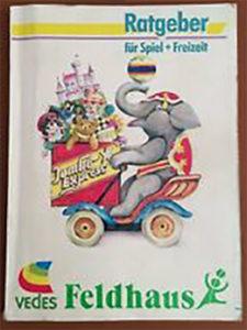 Spielzeug-Katalog von Feldhaus mit dem legendären stilisierten ballspielendem Kind